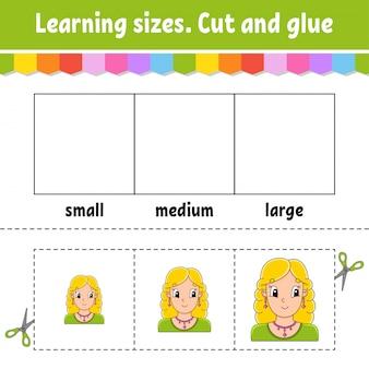 Nauka rozmiarów. wyciąć i skleić. łatwy poziom.