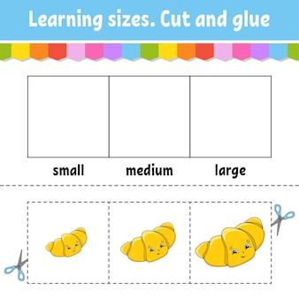 Nauka rozmiarów wytnij i sklej łatwy poziom arkusz ćwiczeń z kolorami