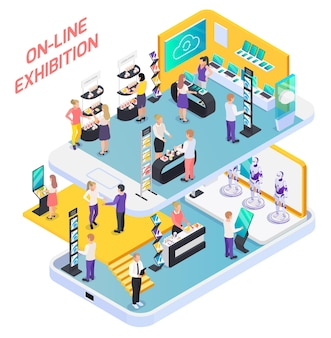 Nauka, technologia, inżynieria, innowacje online, stoiska wystawowe, goście promujący kompozycję izometryczną na ekranie smartfona