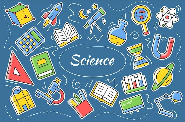 Nauka - zestaw naklejek. elementy i obiekty związane z badaniami laboratoryjnymi. ilustracja kreskówka wektor.