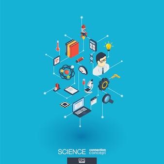 Nauka zintegrowane ikony sieci web. koncepcja interakcji izometrycznej sieci cyfrowej. połączony graficzny system kropkowo-liniowy. abstrakcyjne tło dla badań laboratoryjnych i innowacji. infograf