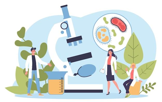 Nauki biologiczne. osoby z mikroskopem wykonują analizę laboratoryjną. idea edukacji i eksperymentu.