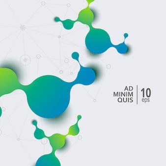Nauki i medycyny abstrakcjonistyczny tło z podłączeniowymi cząsteczkami i atomami.