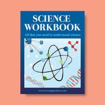 Nauki pokrywy książki projekt z cząsteczką, dna akwareli ilustracja.