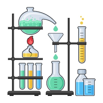 Nauki wyposażenie w chemii laboratorium ilustraci