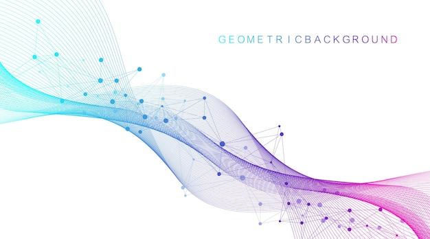 Naukowa ilustracja wektorowa inżynierii genetycznej i koncepcja manipulacji genami. helisa dna, nić dna, cząsteczka lub atom, neurony. abstrakcyjna struktura dla nauki lub wykształcenie medyczne. przepływ fal.