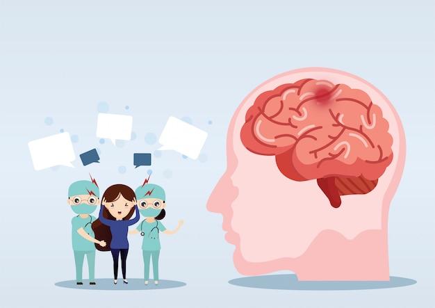 Naukowa medyczna ilustracja ludzkiego mózg uderzenia ilustracja