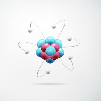 Naukowa realistyczna abstrakcyjna koncepcja z kolorowym modelem atomu na światło na białym tle