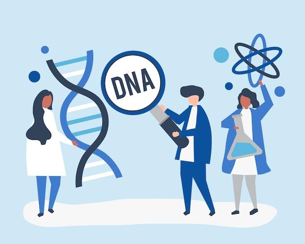 Naukowcy genetyczni prowadzący badania i eksperyment