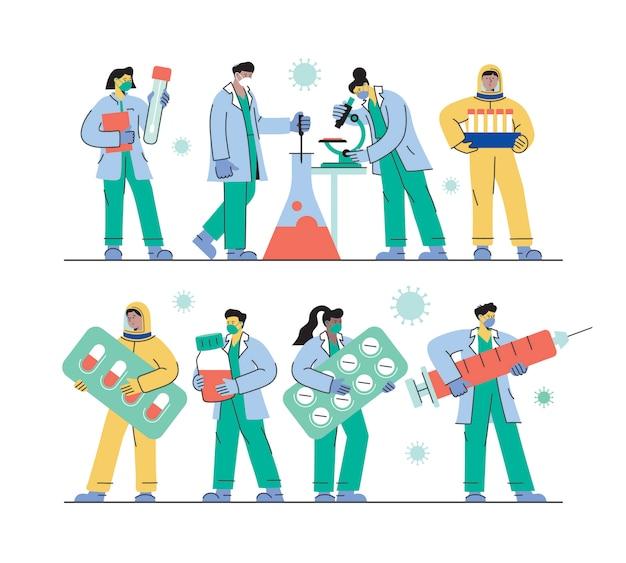 Naukowcy medyczni pracujący nad leczeniem koronawirusa zestaw pracowników służby zdrowia