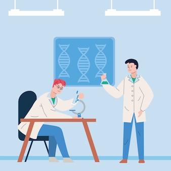 Naukowcy płci męskiej ze sceną szczepionki do badań mikroskopowych