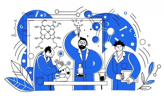 Naukowcy pracują w laboratorium. ludzie w fartuchach lekarskich, eksperci chemiczni ze sprzętem laboratoryjnym. wektor znaków męskich badaczy medycyny.