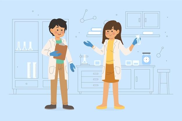 Naukowcy pracujący razem w laboratorium
