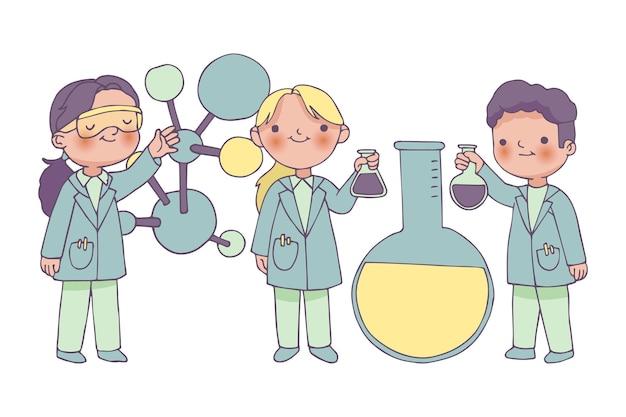 Naukowcy pracujący razem