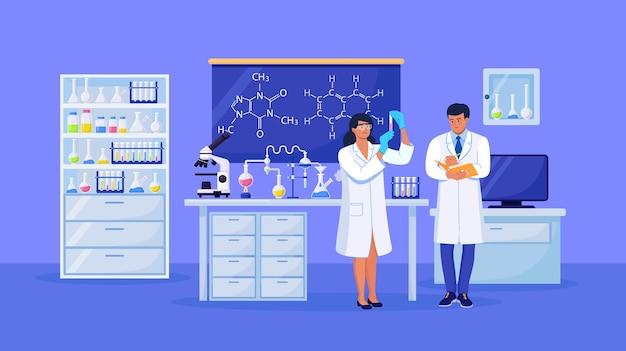 Naukowcy prowadzący badania naukowe, analizy i testy szczepionek. pracownicy laboratorium biochemicznego wykonującego różne eksperymenty. rozwój i odkrycia w mikrobiologii, chemii
