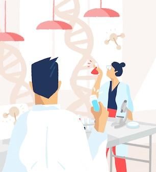 Naukowcy w białych fartuchach przeprowadzający eksperymenty i badania naukowe w nauce lub w laboratorium medycznym. analiza dna, genetyka, modyfikacja genomu i genomika. płaska ilustracja.