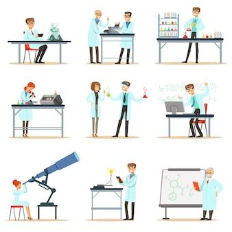 Naukowcy w pracy w laboratorium i zestaw biurowy uśmiechniętych ludzi