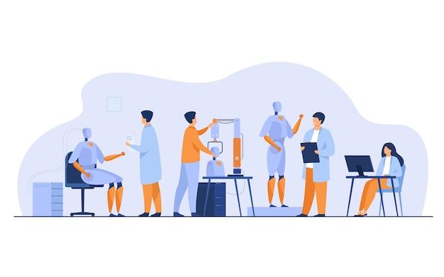 Naukowcy wykonujący roboty w laboratorium na białym tle ilustracji wektorowych płaski. kreskówka ludzie tworzą sprzęt komputerowy i maszyny. koncepcja rozwoju nauki i technologii