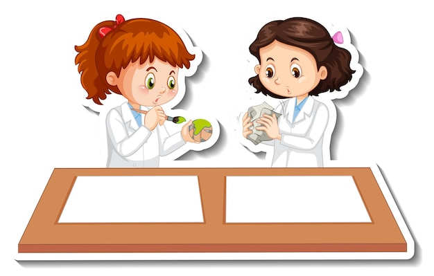 Naukowe dziewczyny postaci z kreskówek z obiektem eksperymentu naukowego