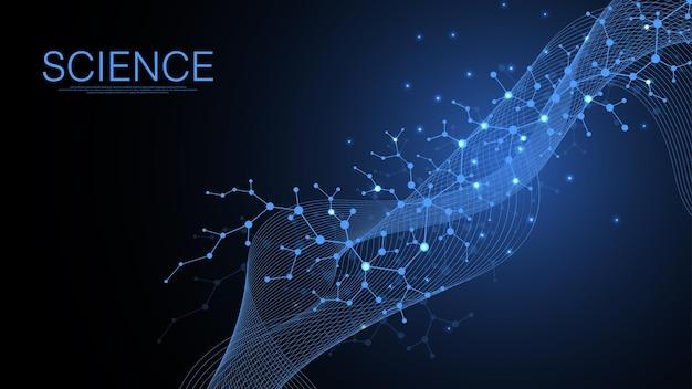 Naukowe tło cząsteczki dla medycyny, nauki, technologii, chemii. nauka szablon tapeta lub baner z cząsteczkami dna. dynamiczny przepływ fal dna. ilustracja wektorowa molekularnej.