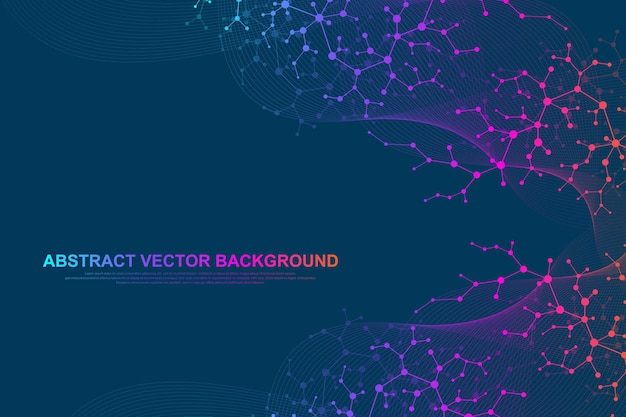 Naukowe tło molekuły dla medycyny, nauki, technologii, chemii. tapeta lub baner z cząsteczkami dna. geometryczna dynamiczna ilustracja wektorowa.