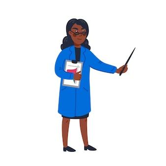 Naukowiec - african american kobieta naukowiec w fartuchu trzymając wskaźnik