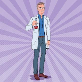 Naukowiec człowiek pop-artu z kolbą. mężczyzna badacz laboratoryjny. koncepcja farmakologii chemii.