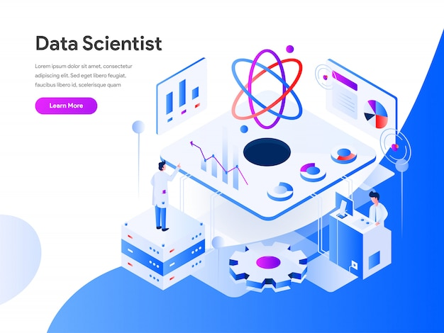 Naukowiec danych izometryczny na stronie internetowej