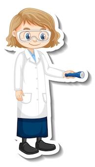 Naukowiec dziewczyna kreskówka trzymając pochodnię