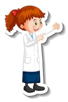 Naukowiec dziewczyna postać z kreskówki w pozie stojącej