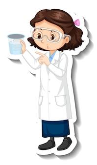 Naukowiec dziewczyna postać z kreskówki z obiektem eksperymentu naukowego