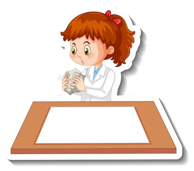 Naukowiec dziewczyna postać z kreskówki z pustym stołem