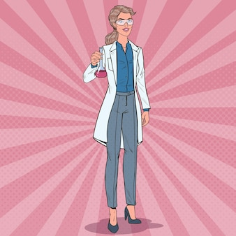 Naukowiec kobieta pop-artu z kolbą. pracownica laboratorium. koncepcja farmakologii chemii.