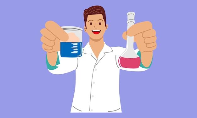 Naukowiec lub profesor trzymający kolbę