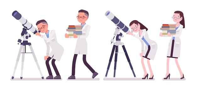 Naukowiec płci męskiej i żeńskiej z teleskopem. wybrany ekspert fizycznego lub naturalnego laboratorium w białym fartuchu. nauka i technologia. styl ilustracja kreskówka na białym tle