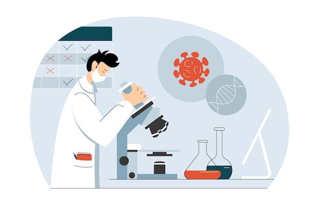 Naukowiec pod mikroskopem w laboratorium biochemicznym opracowujący szczepionkę na koronawirusa do szczepienia krukowicami