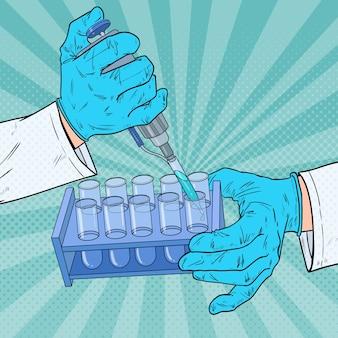 Naukowiec pop-artu pracujący ze sprzętem medycznym. analiza chemiczna. laboratoryjna probówka testowa. koncepcja badań naukowych.