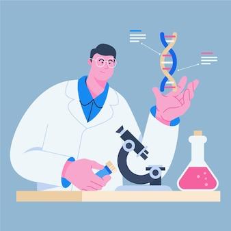 Naukowiec posiadający cząsteczki dna