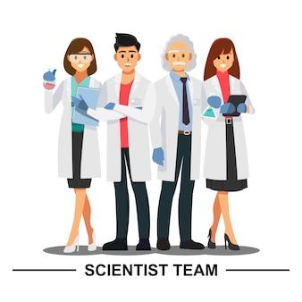Naukowiec praca zespołowa, wektorowy ilustracyjny postać z kreskówki.