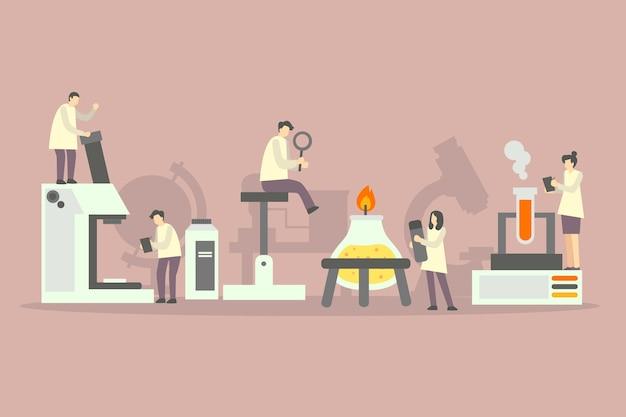 Naukowiec pracujący ilustrowany projekt