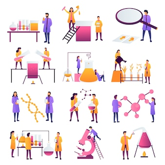 Naukowiec pracujący w naukowych eksperymentach chemicznych lub biologicznych w laboratorium. koncepcja edukacji z biologii, fizyki i chemii. inżynierowie przeprowadzający badania i eksperymenty. - wektor