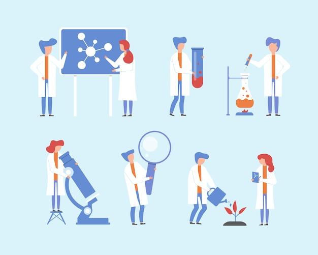 Naukowiec pracujący, zestaw ilustracji badań naukowych, płascy ludzie z kreskówek, malutka postać z mikroskopem laboratoryjnym, sprzęt naukowy z lupą