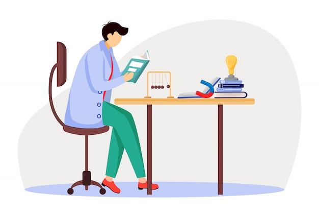 Naukowiec przy jego pracującego miejsca mieszkania ilustracją. mężczyzna w niebieskim fartuchu. profesor uniwersytetu. fizyk siedzący i czytanie książki na białym tle postać z kreskówki na białym tle