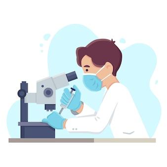 Naukowiec używający mikroskopu