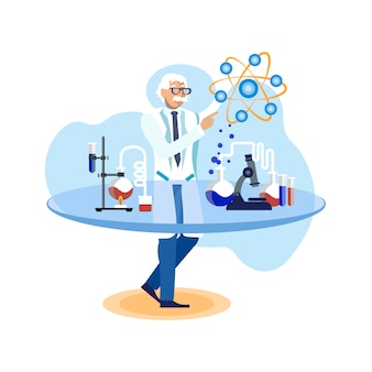 Naukowiec w laboranckiej płaskiej wektorowej ilustraci