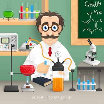 Naukowiec w laboratorium chemii z realistycznym wyposażeniem eksperymentu naukowego