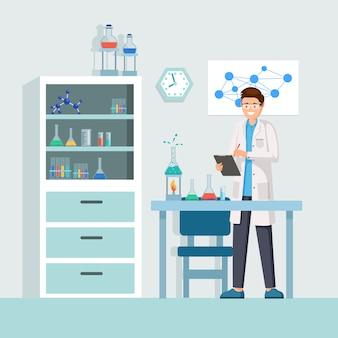 Naukowiec w pracy ilustracji