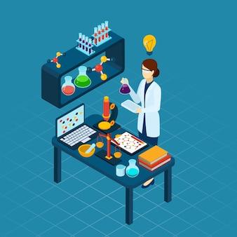 Naukowiec w pracy zawód izometryczny transparent