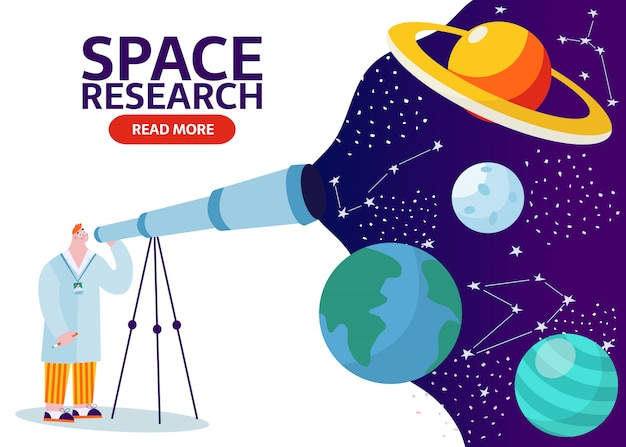 Naukowiec z teleskopem uczący się kosmosu z gwiazdami, księżycem, asteroidami, konstelacją na tle. badacz badający wszechświat i galaktykę. kreskówka mężczyzna studiuje ziemię, saturn, księżycowy sztandar.