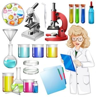Naukowiec z wyposażeniem naukowym